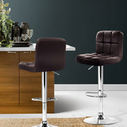 Artiss 2x Gas Lift Bar Stools Swivel Chairs Leather Chrome Chocolate