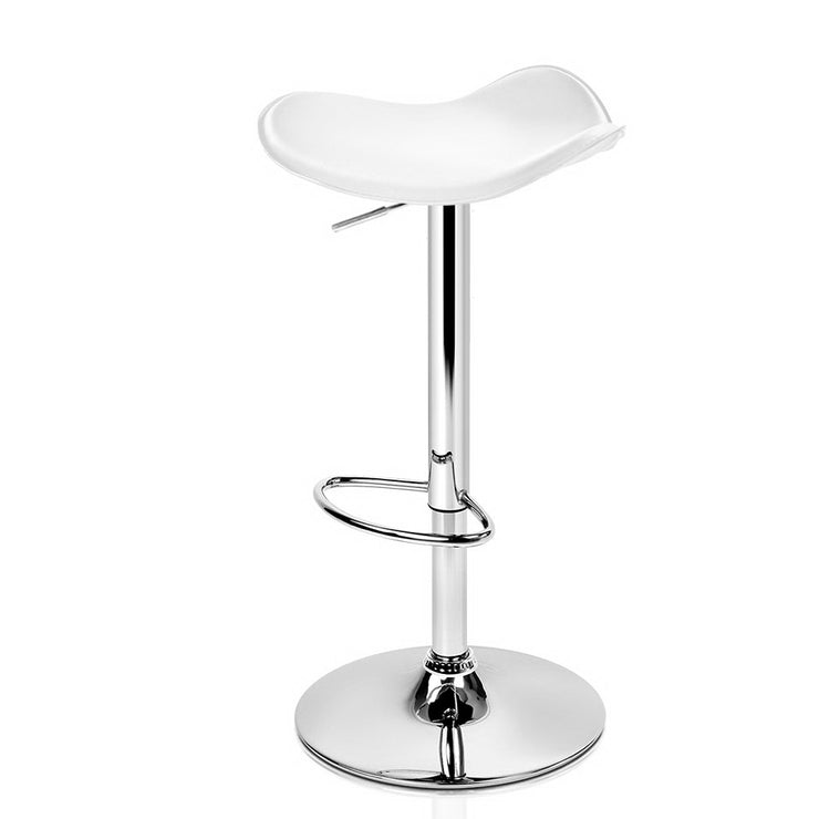 Artiss 2x Gas Lift Bar Stools Swivel Chairs Leather Chrome White