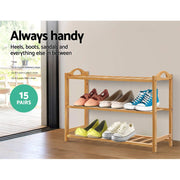 Artiss 3 Tiers Bamboo Shoe Rack Storage Organiser Wooden Shelf Stand Shelves