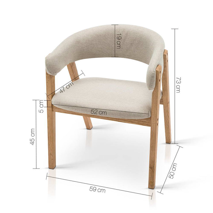 Artiss Fabric and Wood Armchair - Beige