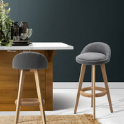 Artiss Set of 2 Fabric Bar Stools-Grey