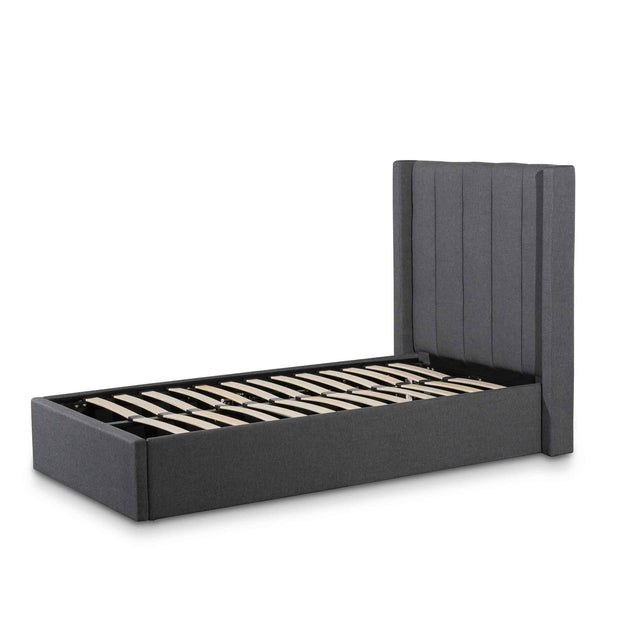 CBD6358-YO Fabric Single Bed Frame - Charcoal Grey with Storage