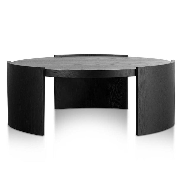 100cm Wooden Round Coffee Table - Black