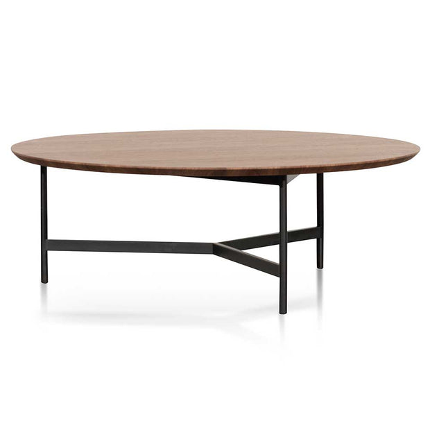 100cm Wooden Round Coffee Table - Walnut