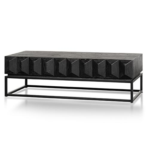 120cm Wooden Coffee Table - Full Black