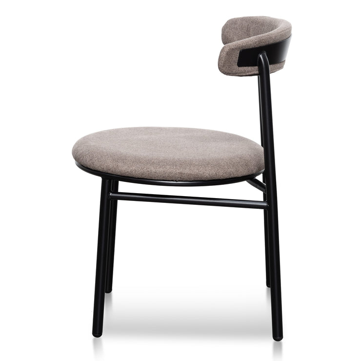 CDC6031-SD Fabric Dining Chair - Caramel Grey with Black Legs