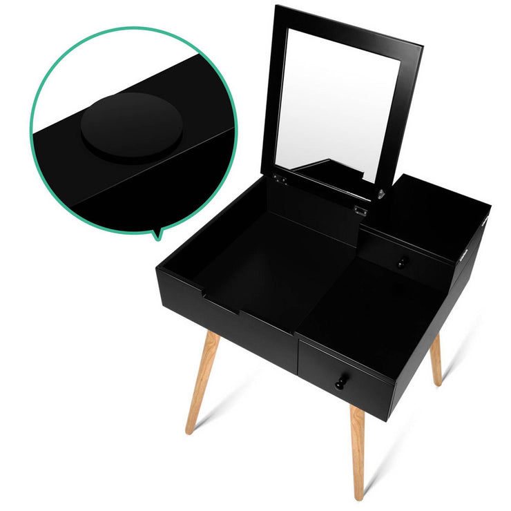 Dressing Table with Foldaway Mirror- Black