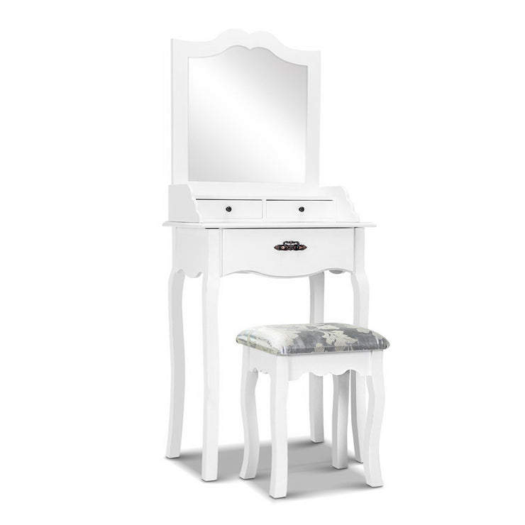 Artiss Dressing Table Stool Mirror Jewellery Cabinet 3 Drawers Chair Organizer