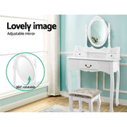 Artiss Dressing Table Stool Mirror Jewellery Cabinet 3 Drawers Box Organizer