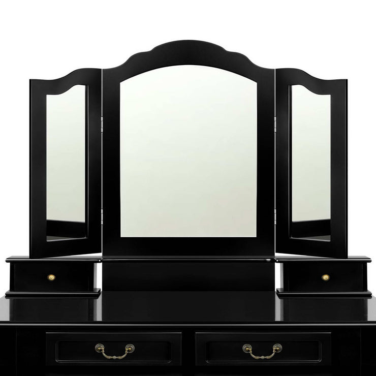 Artiss 4 Drawer Dressing Table with Mirror - Black