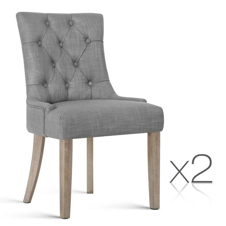 Set of 2 French Provincial Dining Chair - Grey