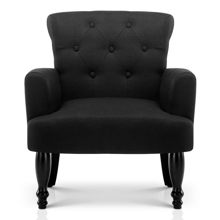 Artiss Linen Fabric Wingback Armchair - Black