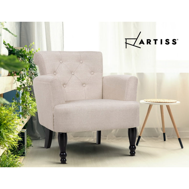 Artiss French Lorraine Armchair Retro Wing - Taupe