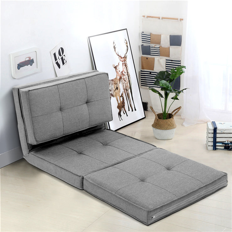Artiss Lounge Sofa Floor Couch Chaise Chair Recliner Futon Linen Folding Grey