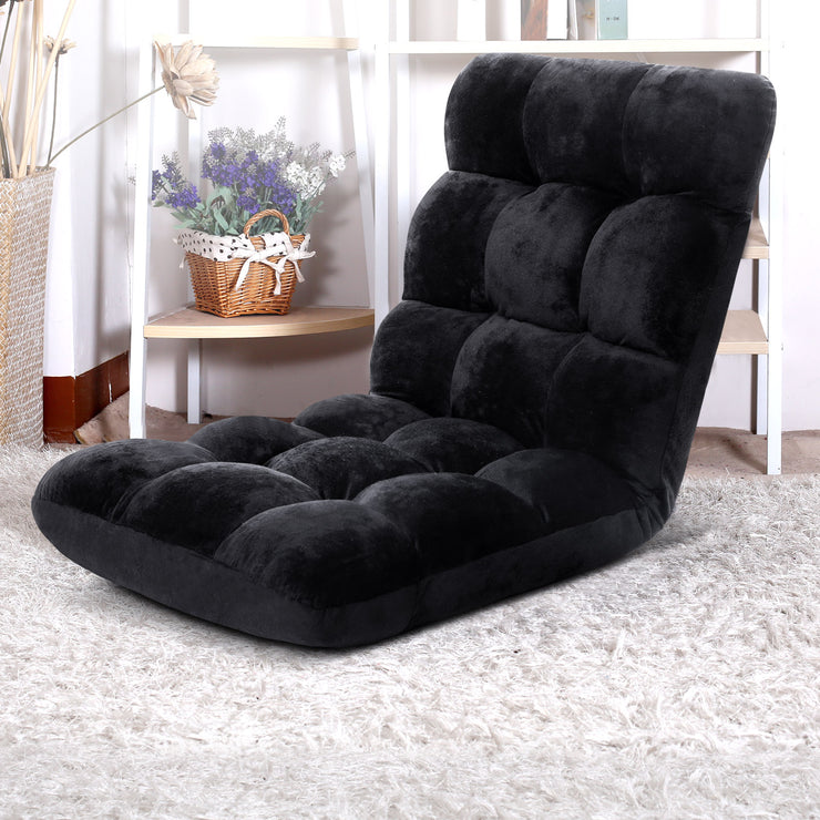 Artiss Lounge Sofa Floor Recliner Futon Chaise Folding Couch Black
