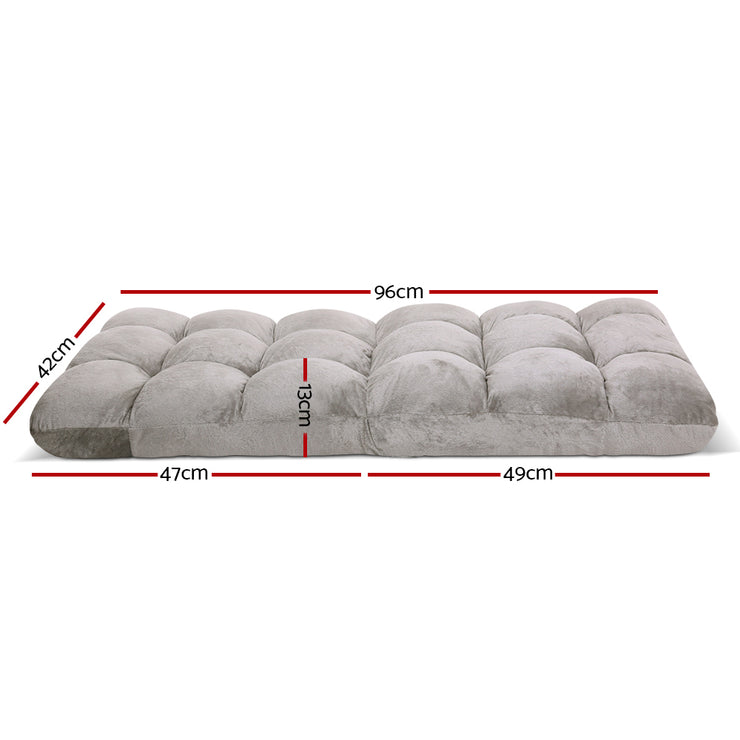 Artiss Lounge Sofa Floor Recliner Futon Chaise Folding Couch Grey