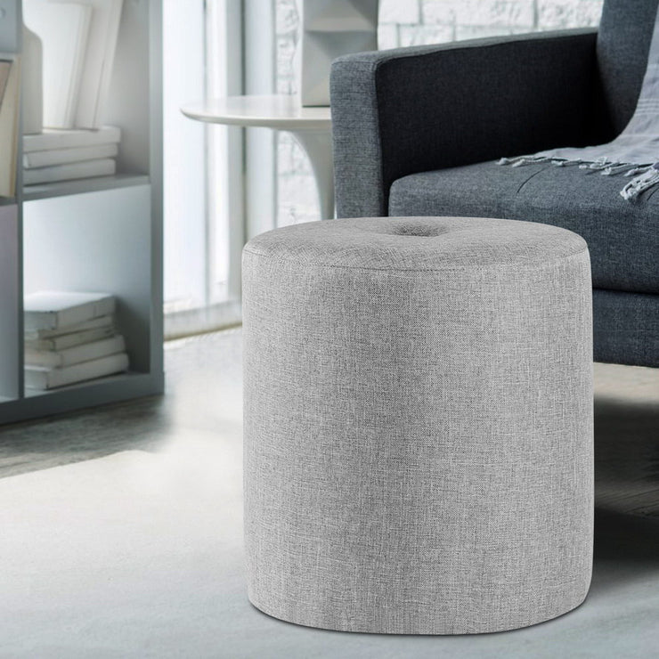 Artiss Ottoman Footstool Foot Rest Stool Fabric Light Grey
