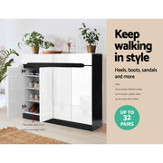 Artiss High Gloss Shoe Cabinet Storage Organisers Rack Box Shelf Cupboard Drawer