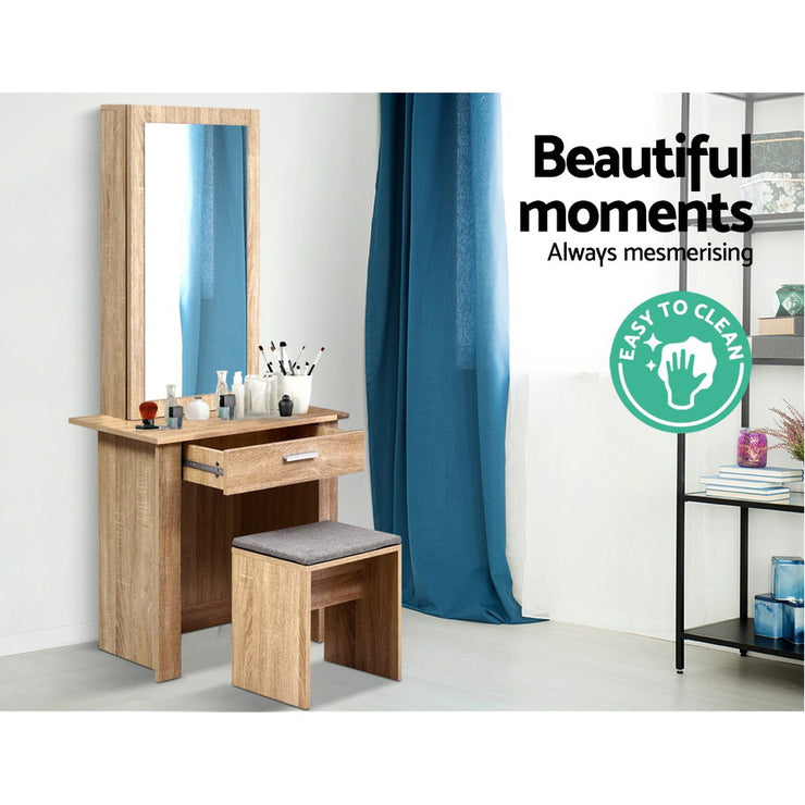 Artiss Dressing Table Mirror Stool Mirror Jewellery Cabinet Makeup Storage Wood