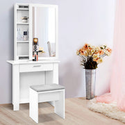 Artiss Dressing Table Mirror Stool Mirror Jewellery Cabinet Makeup Storage Desk