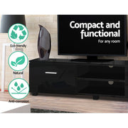 Artiss 140cm High Gloss TV Cabinet Stand Entertainment Unit Storage Shelf Black