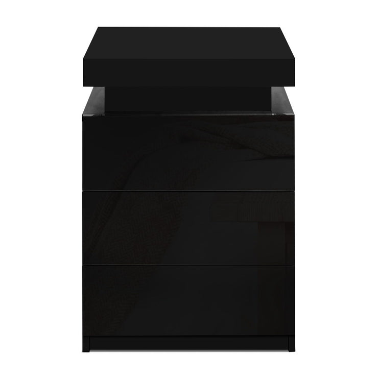 Artiss Bedside Tables Side Table 3 Drawers RGB LED High Gloss Nightstand Black