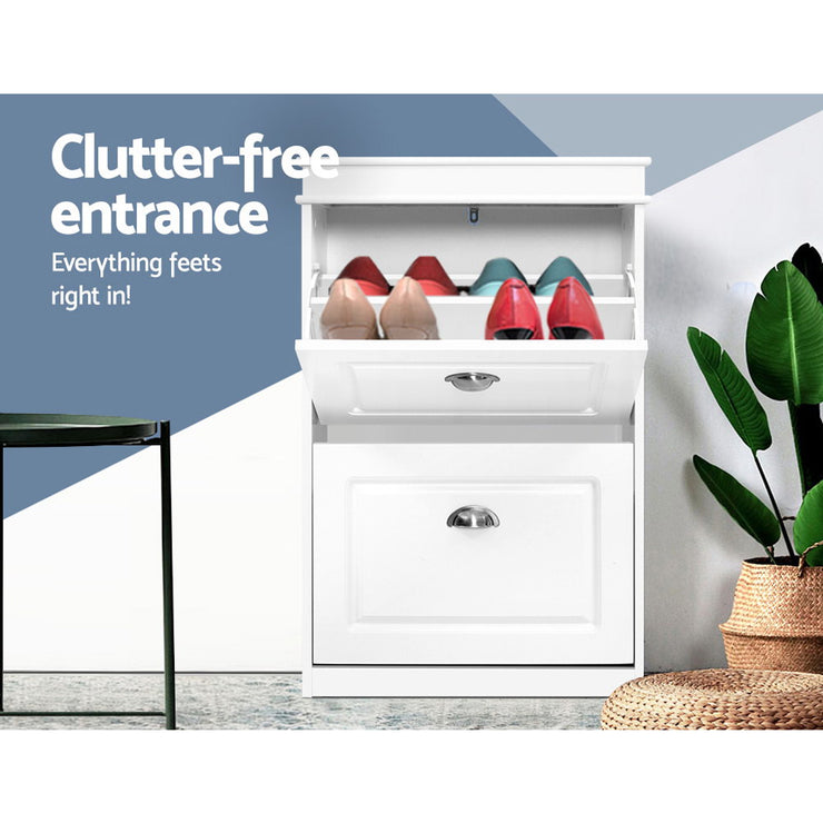 Shoe Cabinet Shoes Storage Rack White Organiser Shelf Cupboard Drawer 12 Pairs