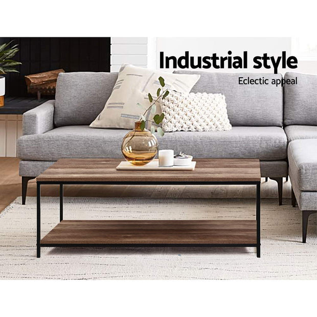 Artiss Coffee Table Wooden Rustic Vintage Storage Shelf Metal Frame Black