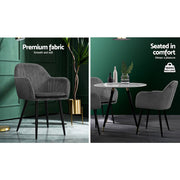 Artiss Dining Chairs Retro Chair Metal Legs Replica Armchair Velvet Grey x2