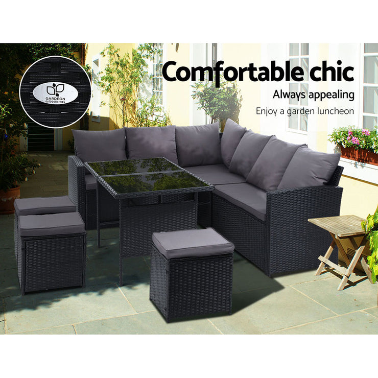 Gardeon Outdoor Furniture Sofa Set Dining Setting Wicker 9 Seater Storage Cover Black