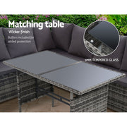 Gardeon Outdoor Furniture Sofa Set Dining Setting Wicker 9 Seater Storage Cover Mixed Grey