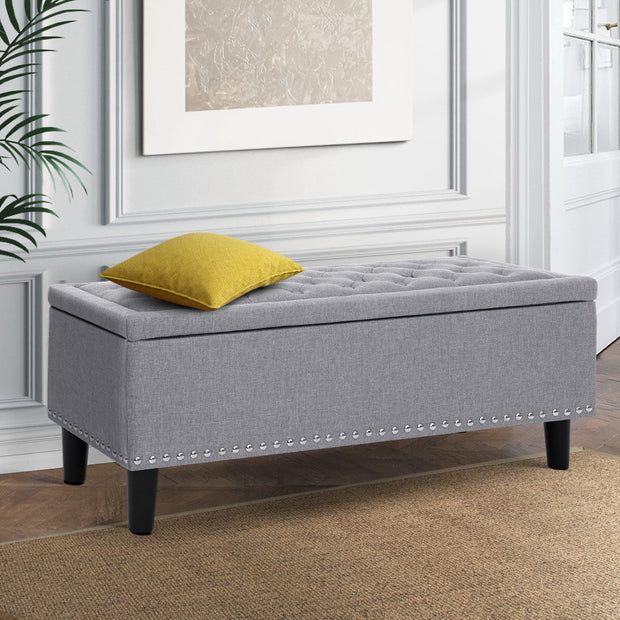 Artiss Storage Ottoman Blanket Box Linen Fabric Chest Foot Stool Toy Bench Grey
