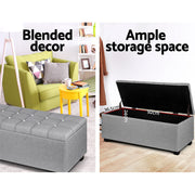 Artiss Blanket Box Storage Ottoman Fabric Foot Stool Grey