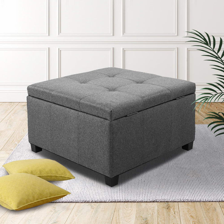 Artiss Storage Ottoman Blanket Box Fabric Foot Stool Rest Chest Couch Bench Toy Grey