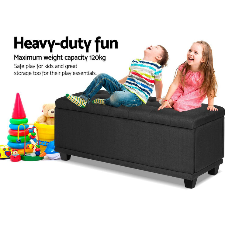 Artiss Storage Ottoman Blanket Box Linen Fabric Foot Stool Chest Toy Charcoal