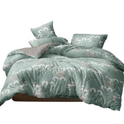 Giselle Bedding Quilt Cover Set Queen Bed Doona Duvet Reversible Sets Flower Pattern Green