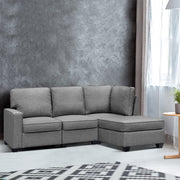 Artiss Sofa Lounge Set 4 Seater Modular Chaise Chair Suite Couch Fabric Grey