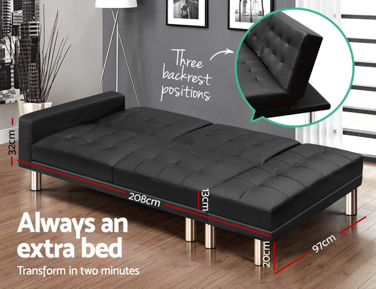 Artiss 3 Seater Sofa Bed Set Ottoman PU Leather