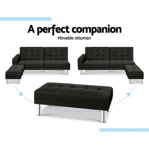 Artiss 3 Seater Sofa Bed Fabric Couch Ottoman Lounge Chair Futon Charcoal