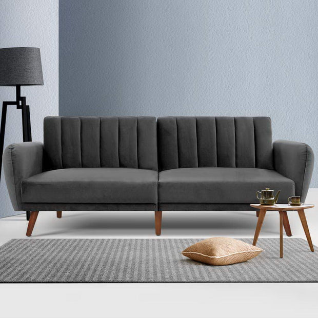Artiss Sofa Bed Lounge 3 Seater Futon Couch Recline Chair Wooden 207cm Velvet Grey
