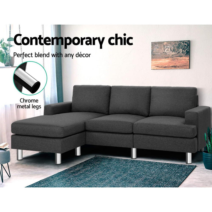 Artiss Sofa Lounge Set Couch Futon Corner Chaise Fabric 4 Seater Suite Dark Grey