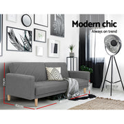 Artiss 1950mm 3 Seater Sofa Bed Recliner Lounge Couch Futon Grey Fabric