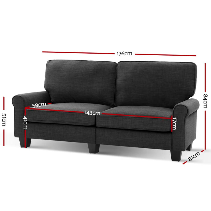 Artiss 1780mm 3 Seater Sofa Suite Lounger Couch Fabric Dark Grey