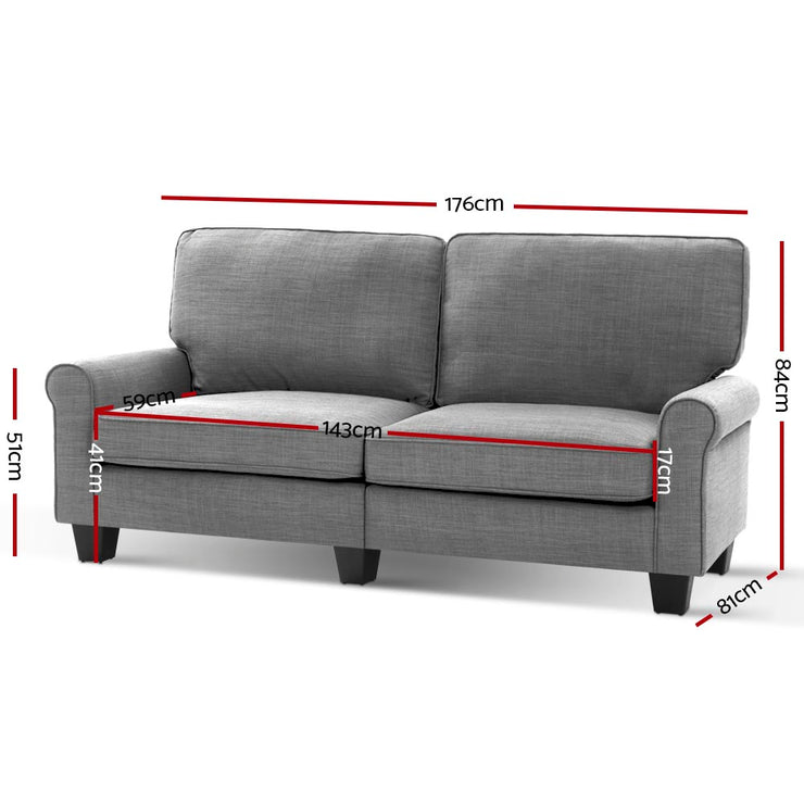 Artiss 1780mm 3 Seater Sofa Suite Lounger Couch Fabric Grey