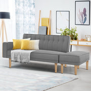 Artiss 3 Seater Sofa Bed Ottoman Recliner Lounge Scandinavian Grey