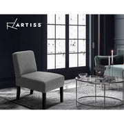 Artiss French Armchair Accent Tub Chair Modern Singe Sofa Seat Wood Grey