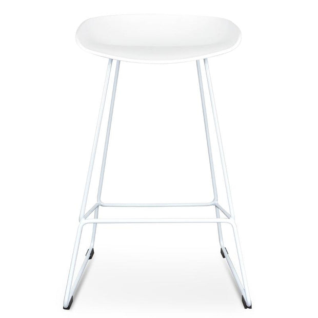 CBS2007-SD 65cm Bar Stool - white Seat With white metal Frame