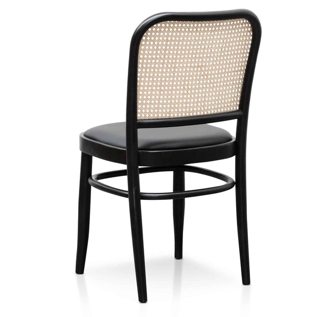 CDC6382-SD Black Cushion Dining Chair - Natural Rattan