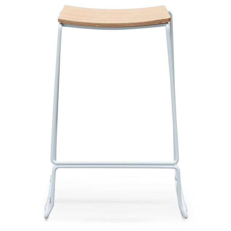 CBS2453-NH Bar Stool With Natural Timber Seat - White Frame