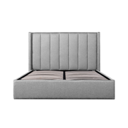 Fabric Queen Bed Frame - Pearl Grey with Storage
